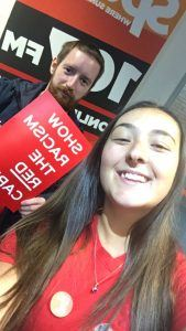 Friday Drive Presenter & Producer Emma & Dave Showing Racism the Red Card